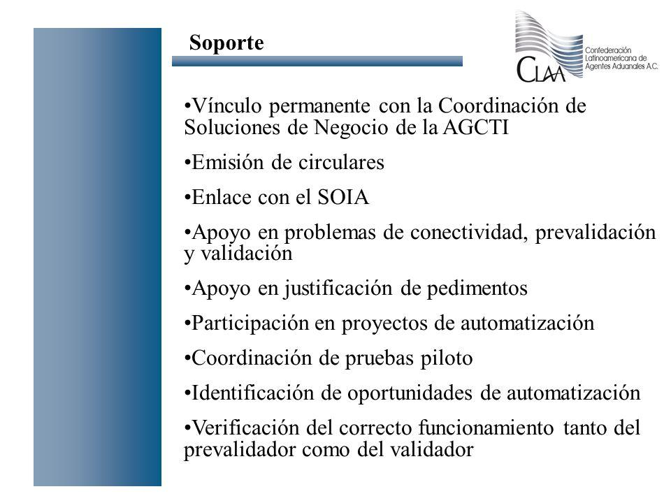 Soporte Vínculo permanente con la Coordinación de Soluciones de Negocio de la AGCTI. Emisión de circulares.