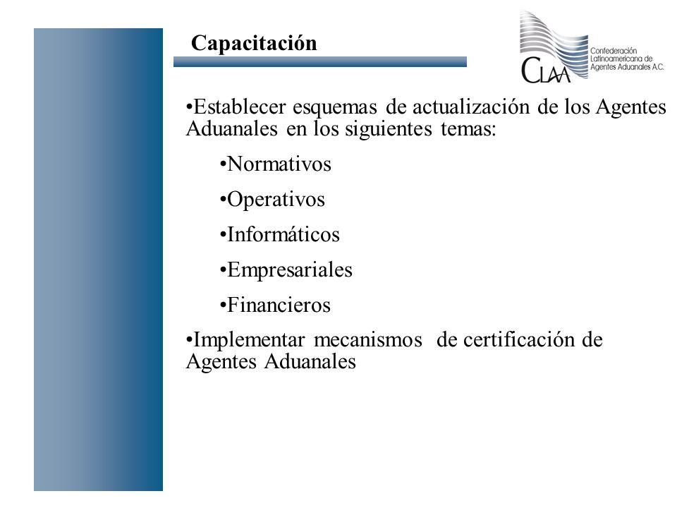 Capacitación Establecer esquemas de actualización de los Agentes Aduanales en los siguientes temas: