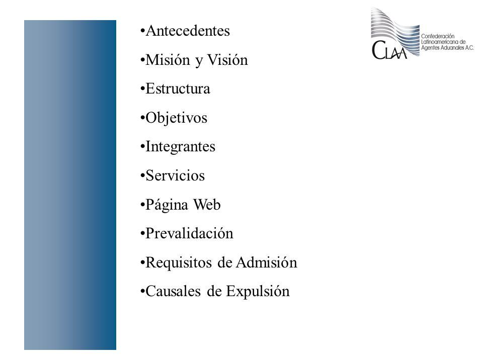 Antecedentes Misión y Visión. Estructura. Objetivos. Integrantes. Servicios. Página Web. Prevalidación.