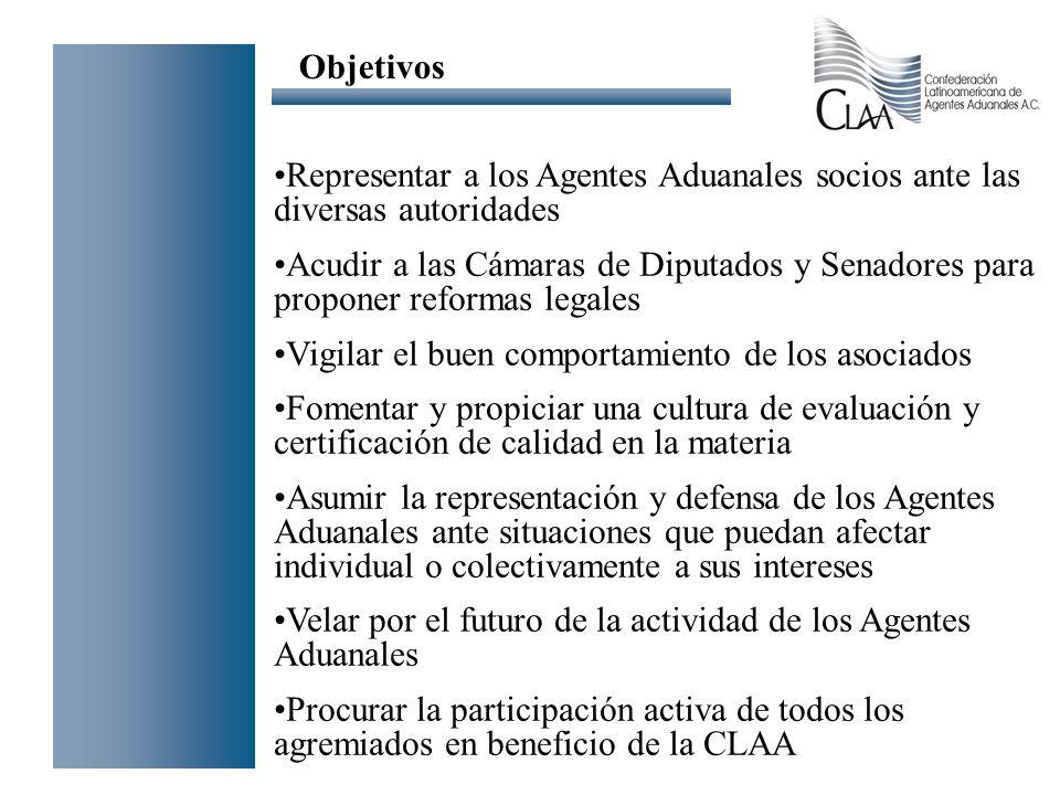 Objetivos Representar a los Agentes Aduanales socios ante las diversas autoridades.