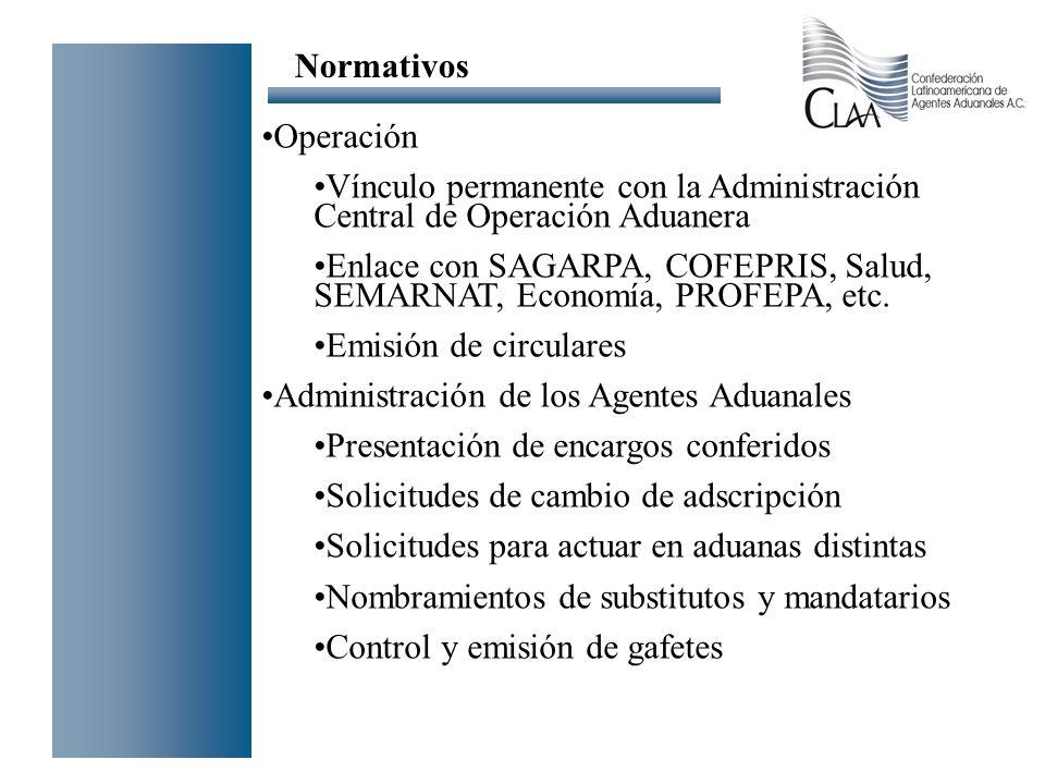 Normativos Operación. Vínculo permanente con la Administración Central de Operación Aduanera.