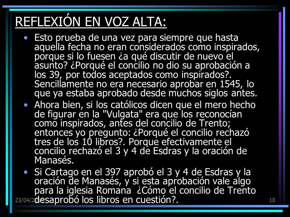 REFLEXIÓN EN VOZ ALTA: