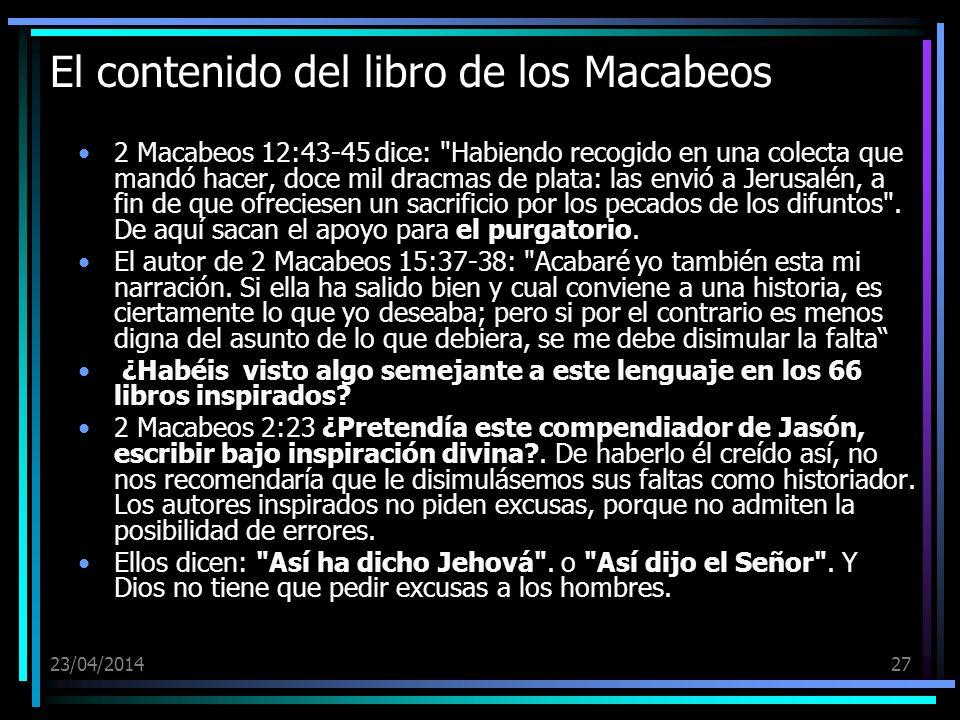 El contenido del libro de los Macabeos