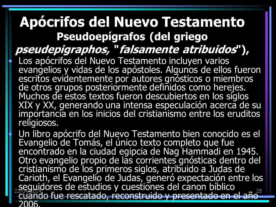 Apócrifos del Nuevo Testamento Pseudoepígrafos (del griego pseudepigraphos, falsamente atribuidos ),