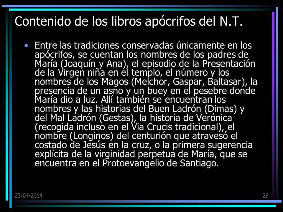 Contenido de los libros apócrifos del N.T.