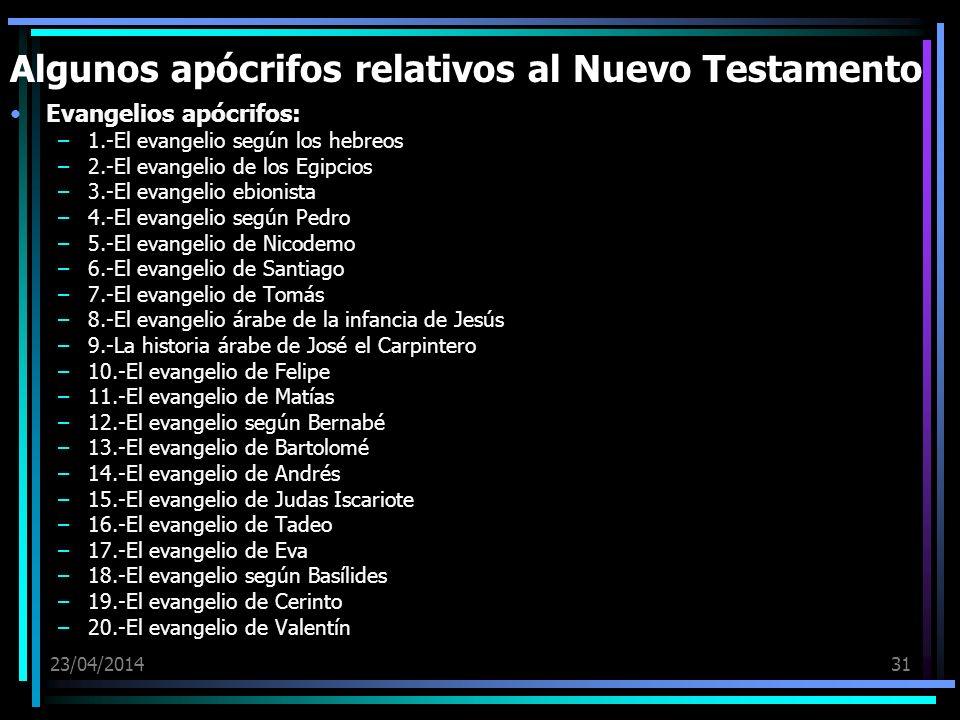 Algunos apócrifos relativos al Nuevo Testamento
