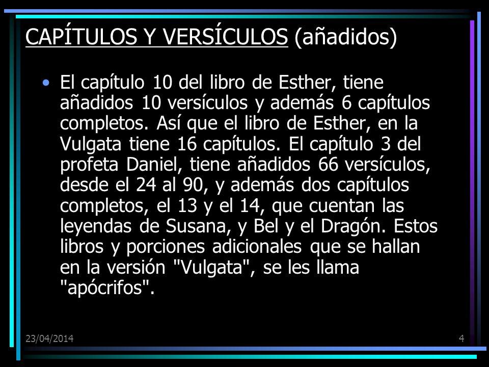 CAPÍTULOS Y VERSÍCULOS (añadidos)