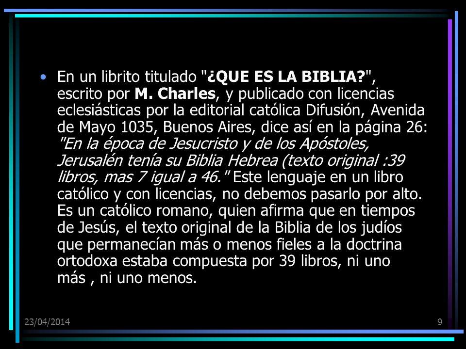 En un librito titulado ¿QUE ES LA BIBLIA. , escrito por M