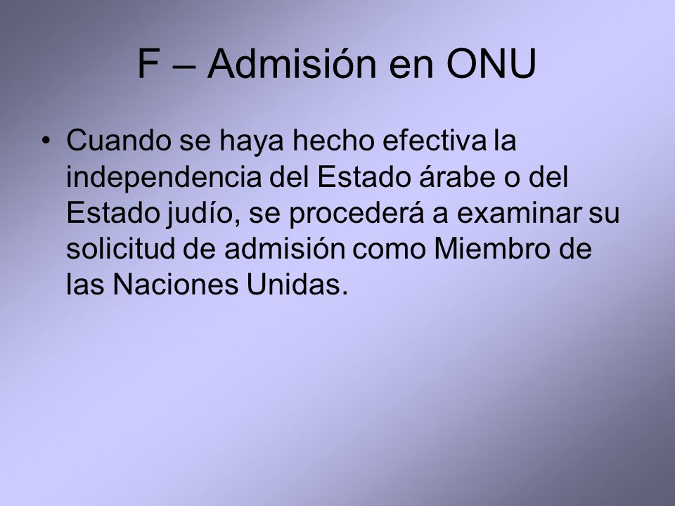 F – Admisión en ONU