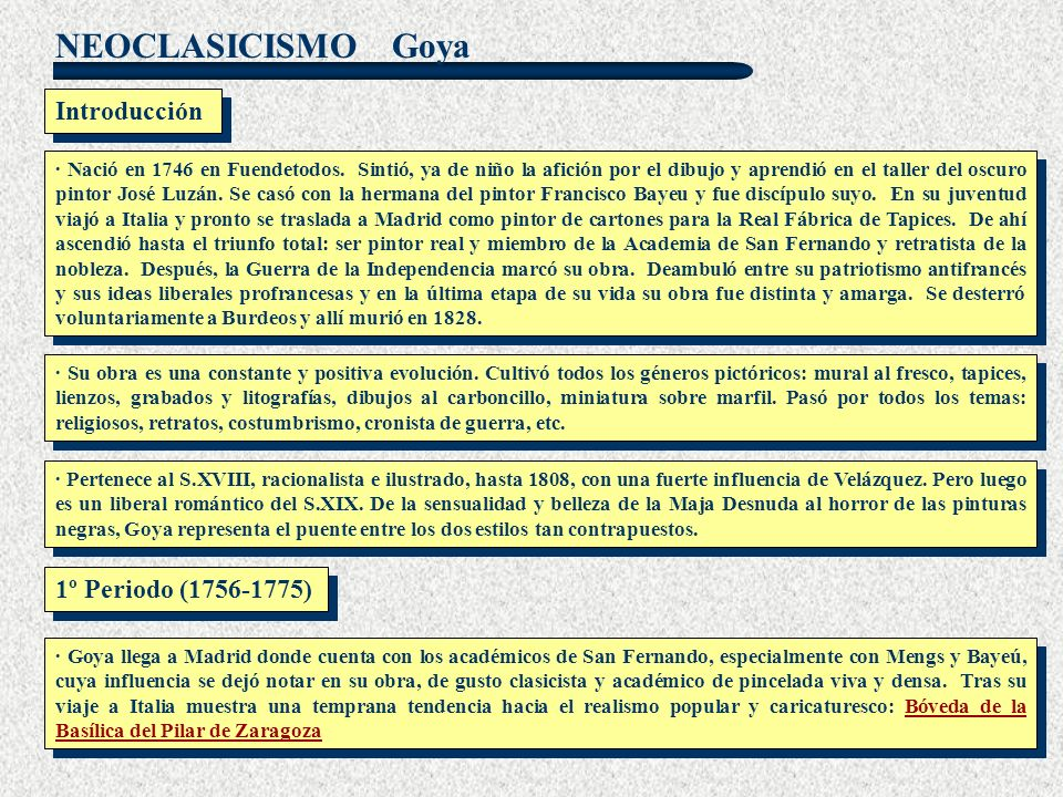 Goya Introducción 1º Periodo (1756-1775)