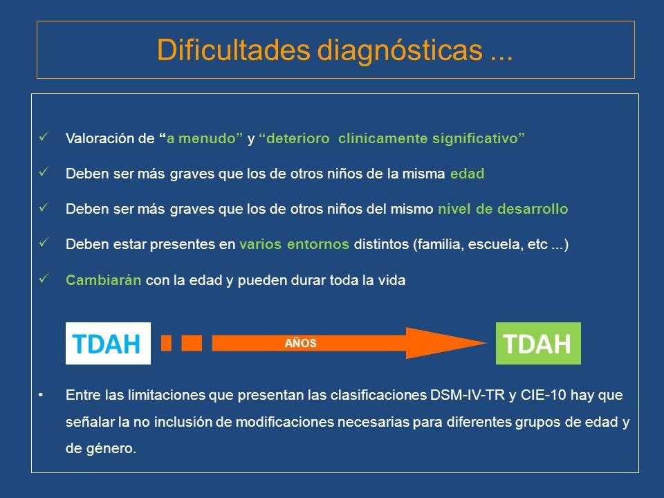 Dificultades diagnósticas ...