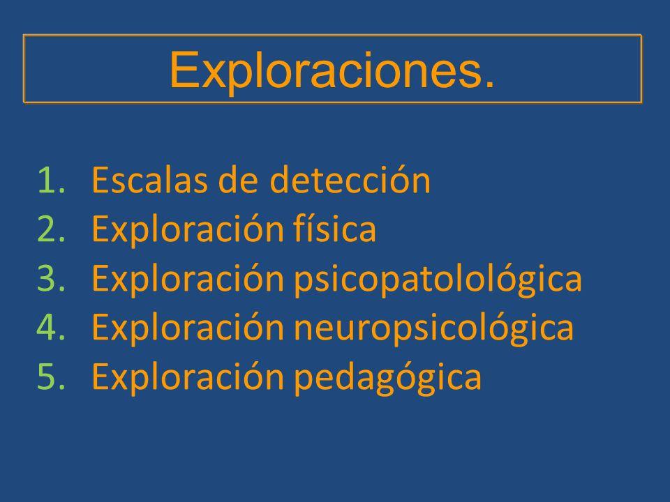 Exploraciones. Escalas de detección Exploración física