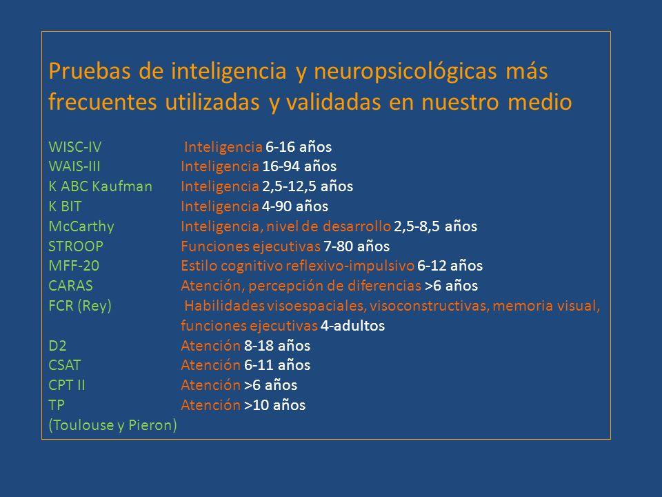 Pruebas de inteligencia y neuropsicológicas más frecuentes utilizadas y validadas en nuestro medio