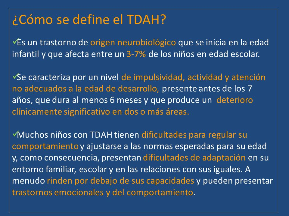 ¿Cómo se define el TDAH