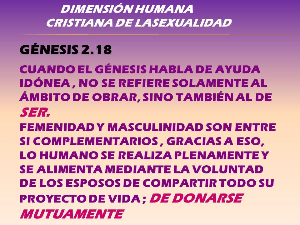 GÉNESIS 2.18 DIMENSIÓN HUMANA CRISTIANA DE LASEXUALIDAD