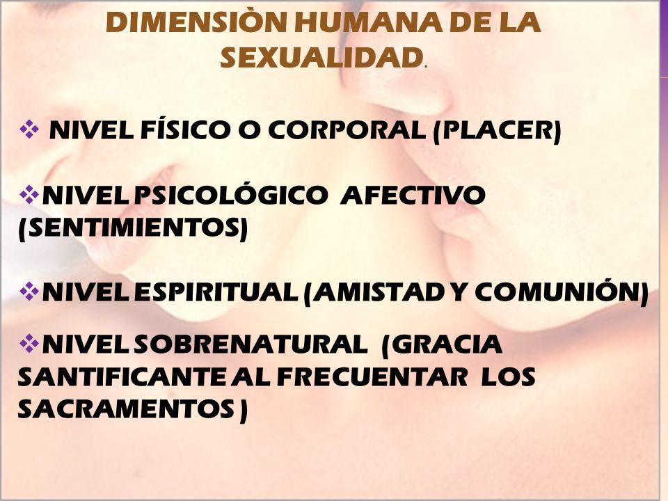 DIMENSIÒN HUMANA DE LA SEXUALIDAD.
