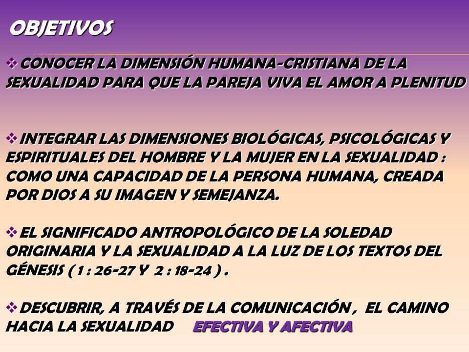 OBJETIVOS CONOCER LA DIMENSIÓN HUMANA-CRISTIANA DE LA SEXUALIDAD PARA QUE LA PAREJA VIVA EL AMOR A PLENITUD.