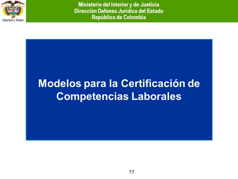 Modelos para la Certificación de Competencias Laborales