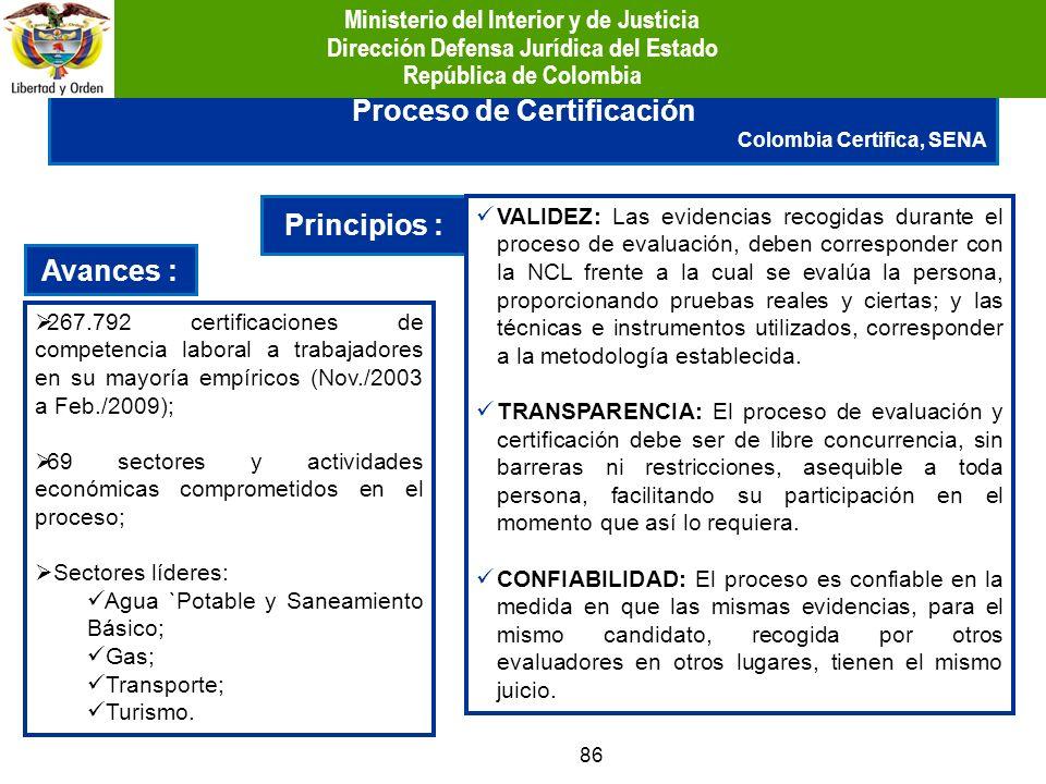 Proceso de Certificación Principios : Avances :