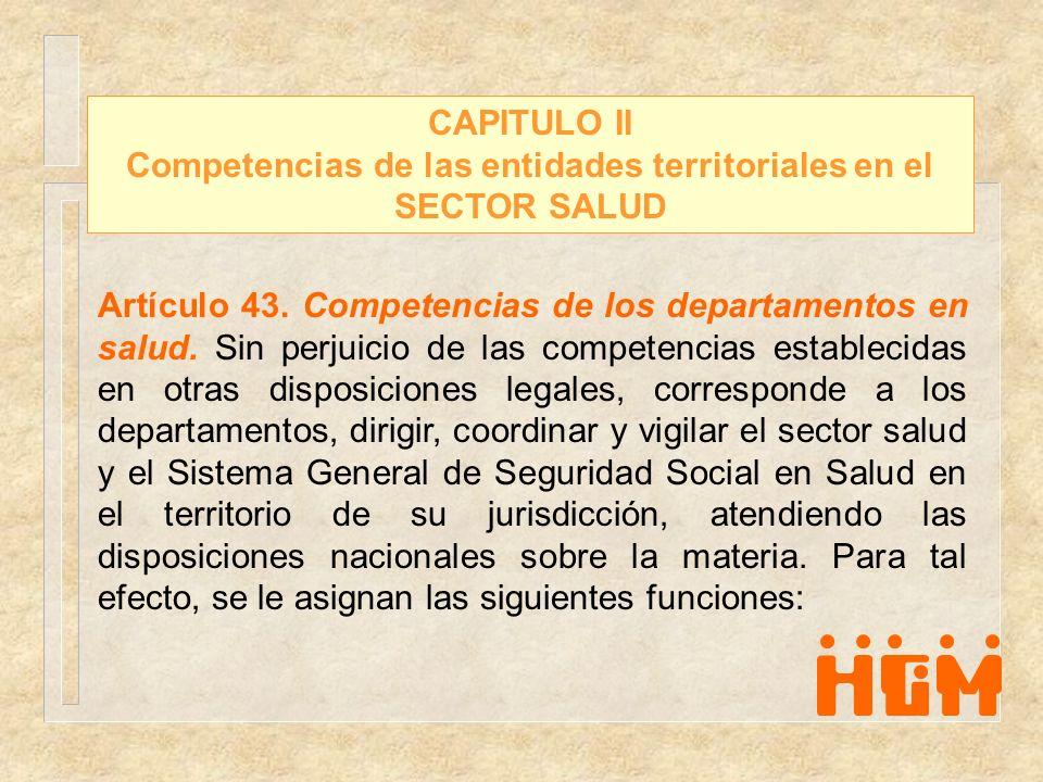 Competencias de las entidades territoriales en el SECTOR SALUD