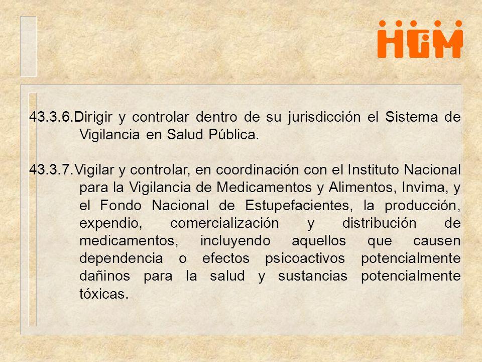 43.3.6.Dirigir y controlar dentro de su jurisdicción el Sistema de Vigilancia en Salud Pública.