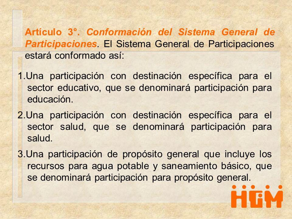 Artículo 3°. Conformación del Sistema General de Participaciones