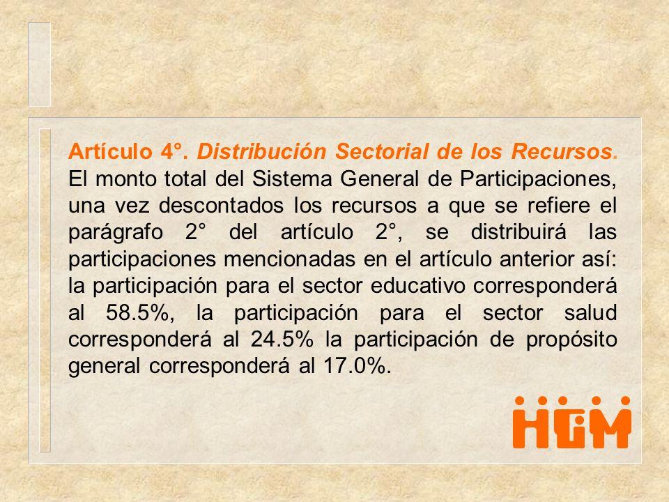 Artículo 4°. Distribución Sectorial de los Recursos