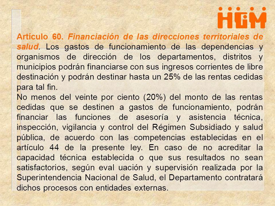 Artículo 60. Financiación de las direcciones territoriales de salud