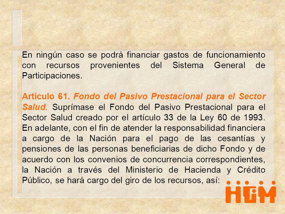 En ningún caso se podrá financiar gastos de funcionamiento con recursos provenientes del Sistema General de Participaciones.