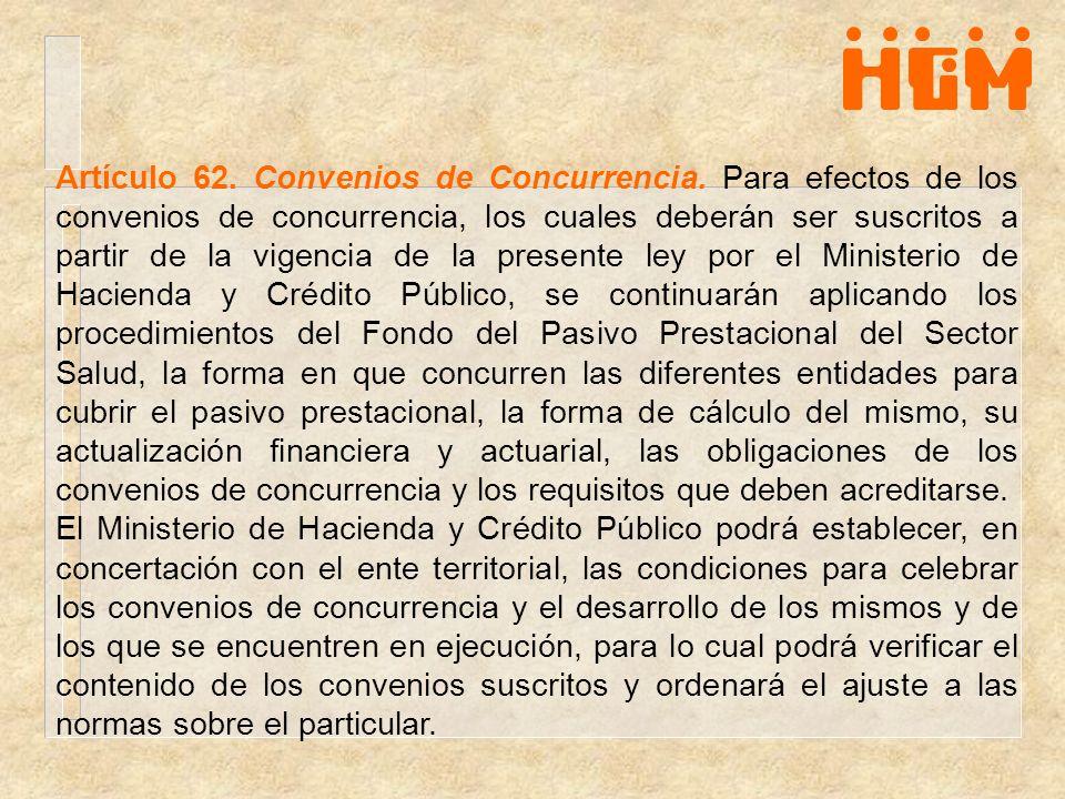 Artículo 62. Convenios de Concurrencia