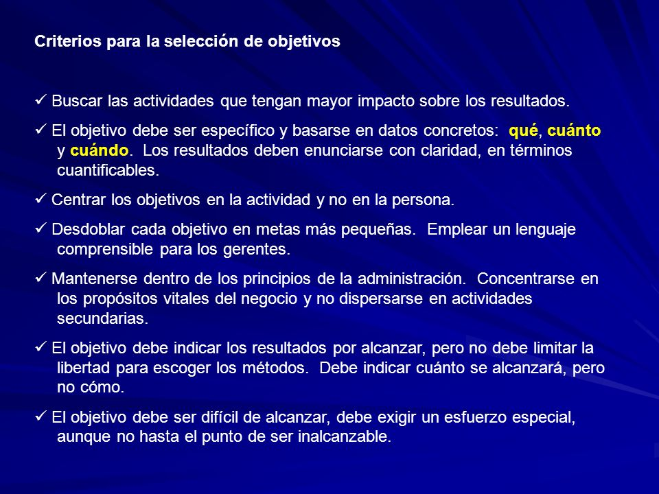 Criterios para la selección de objetivos