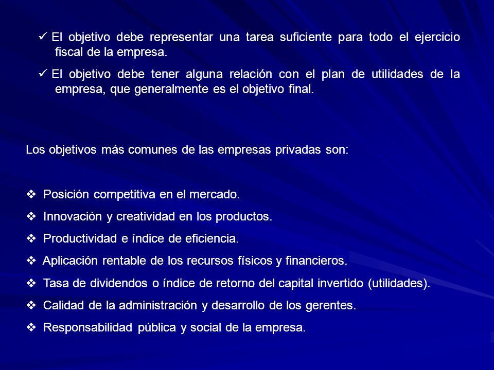 El objetivo debe representar una tarea suficiente para todo el ejercicio fiscal de la empresa.