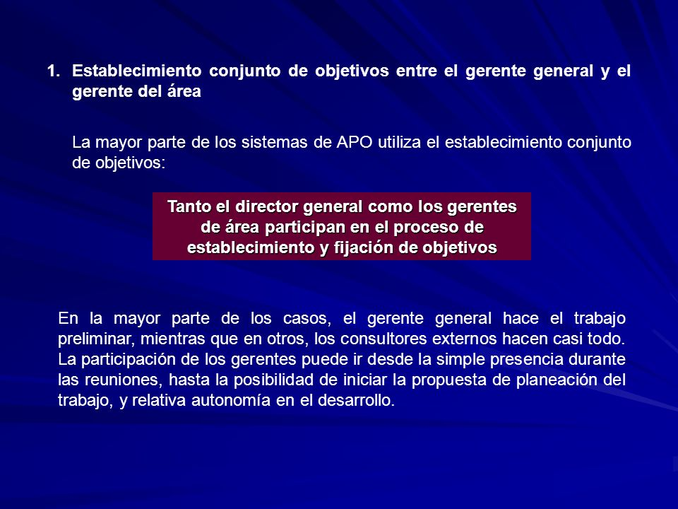 Establecimiento conjunto de objetivos entre el gerente general y el gerente del área