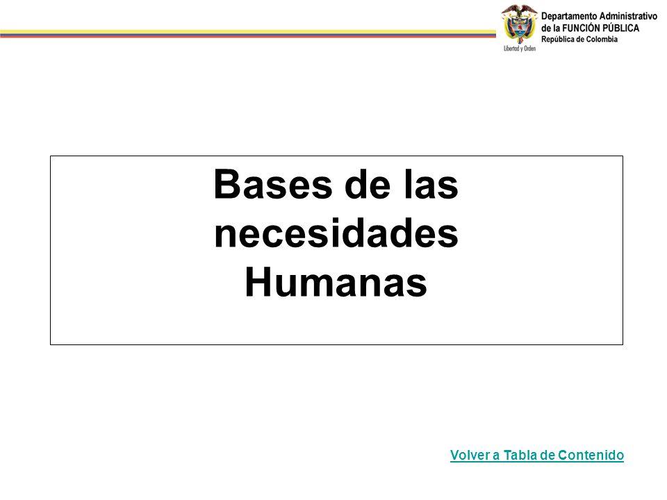 Bases de las necesidades Humanas