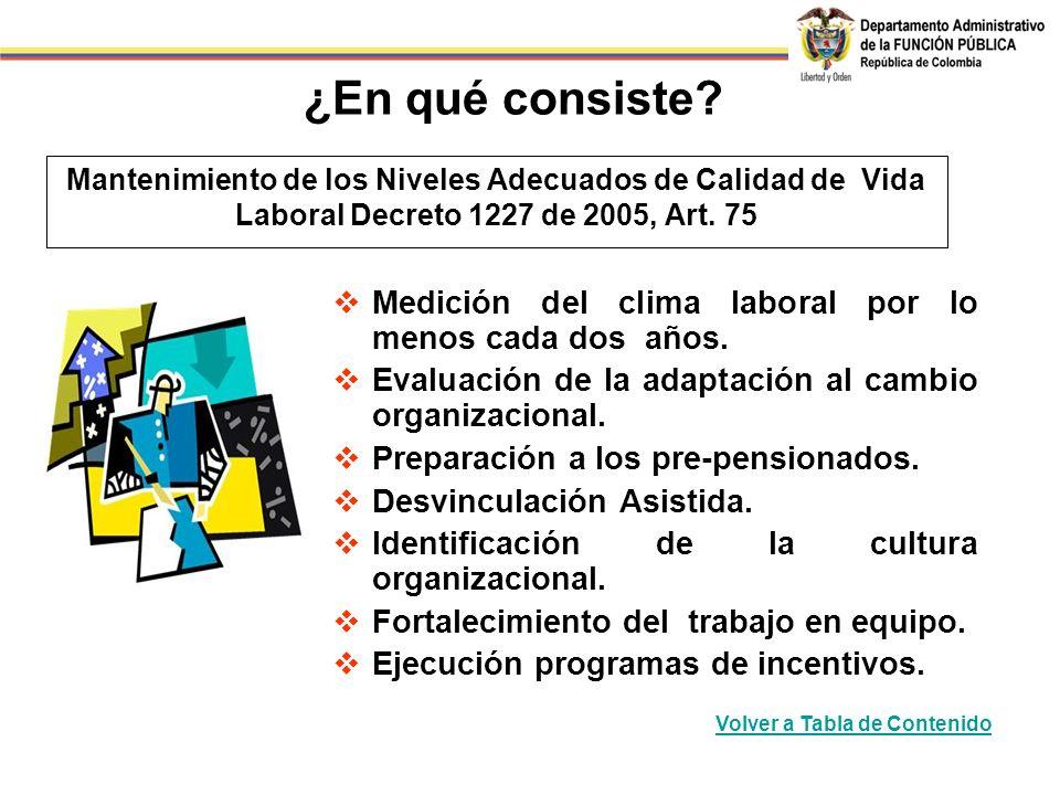 ¿En qué consiste Mantenimiento de los Niveles Adecuados de Calidad de Vida Laboral Decreto 1227 de 2005, Art. 75.