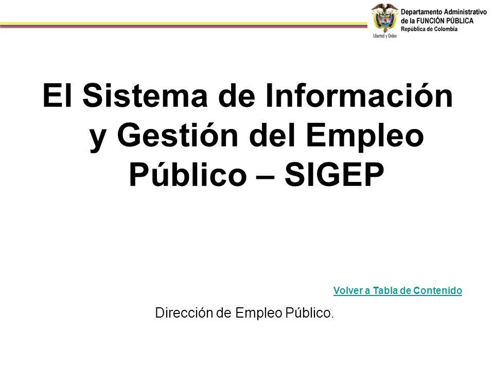 El Sistema de Información y Gestión del Empleo Público – SIGEP