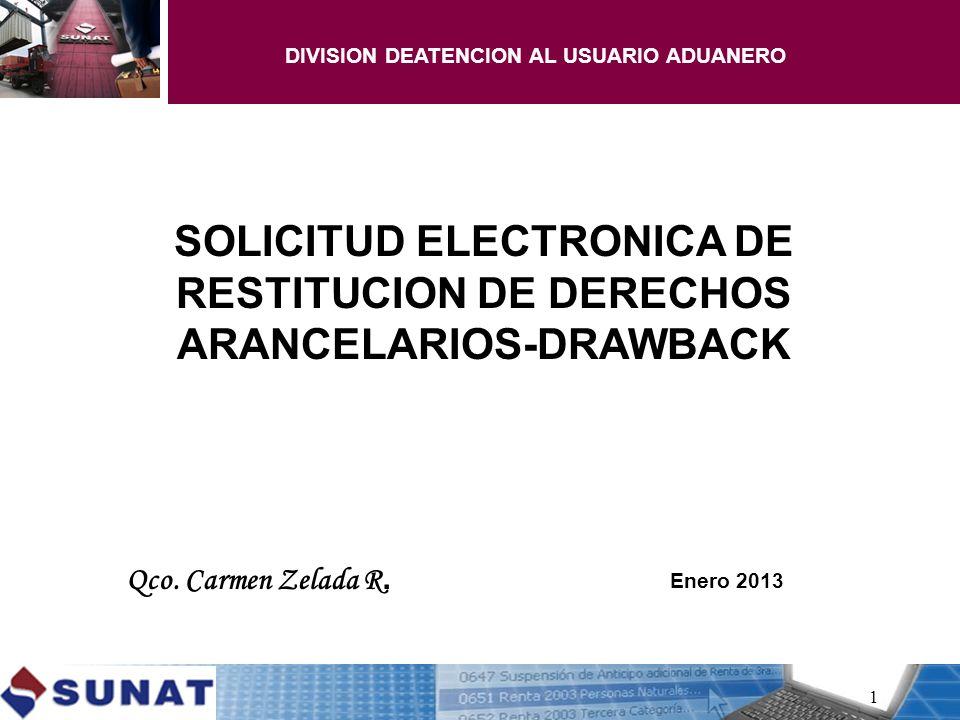 SOLICITUD ELECTRONICA DE RESTITUCION DE DERECHOS ARANCELARIOS-DRAWBACK