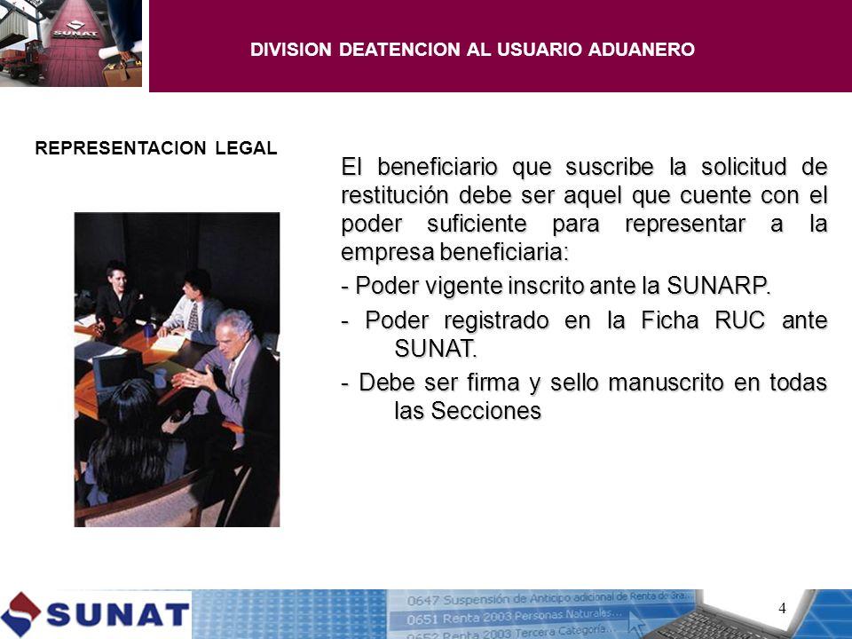 DIVISION DEATENCION AL USUARIO ADUANERO