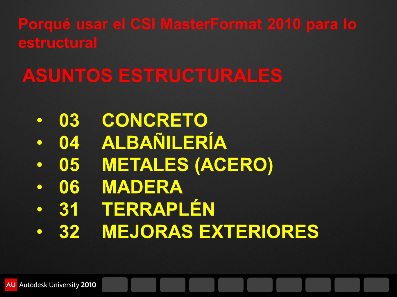 Porqué usar el CSI MasterFormat 2010 para lo estructural