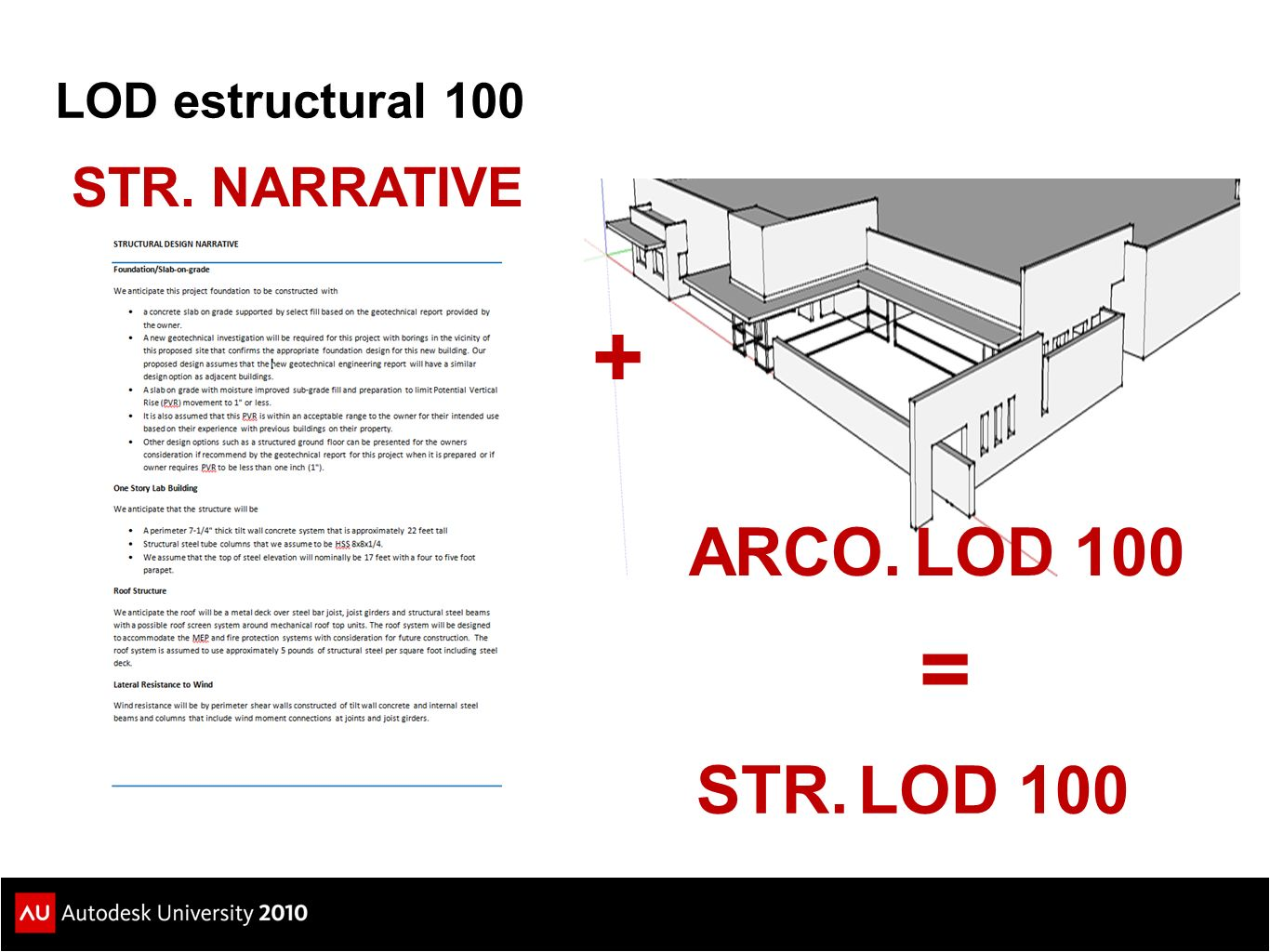 LOD estructural 100 STR. NARRATIVE + ARCO. LOD 100 = STR. LOD 100