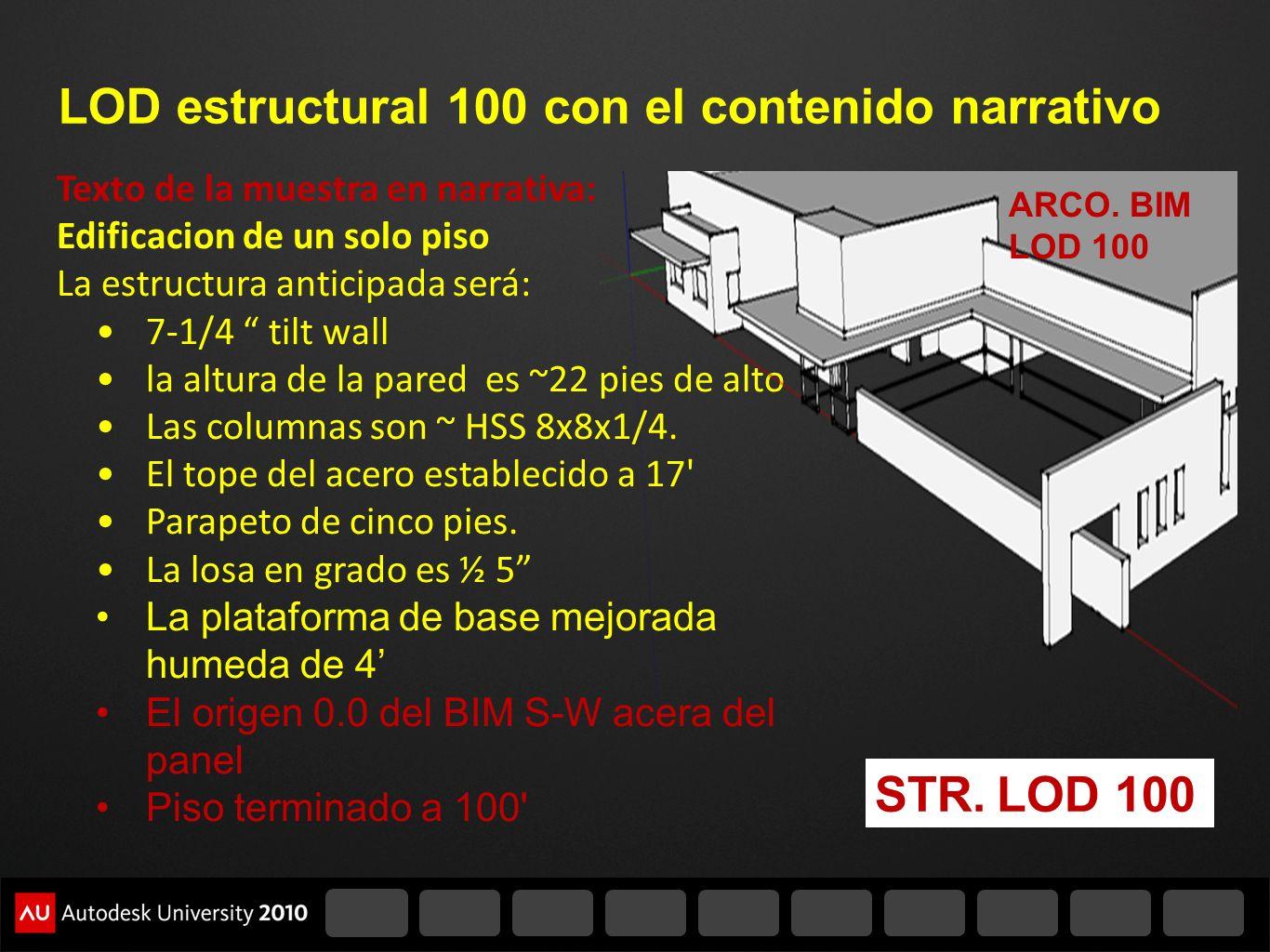LOD estructural 100 con el contenido narrativo