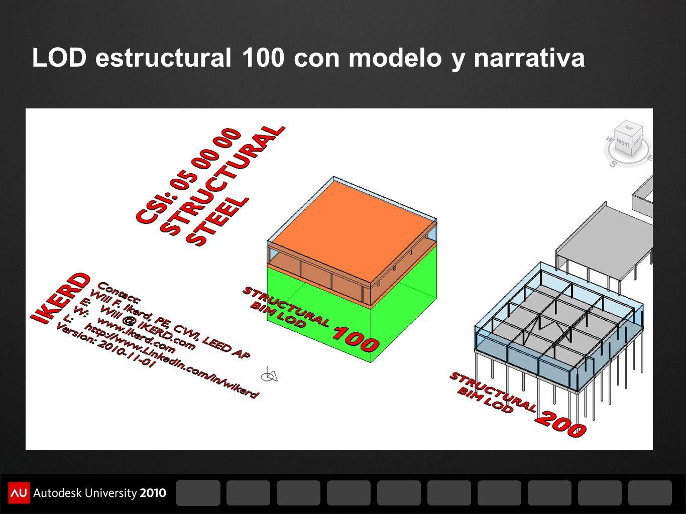 LOD estructural 100 con modelo y narrativa