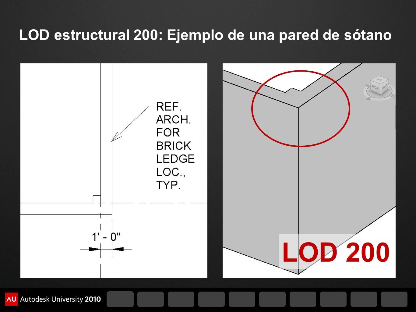 LOD estructural 200: Ejemplo de una pared de sótano
