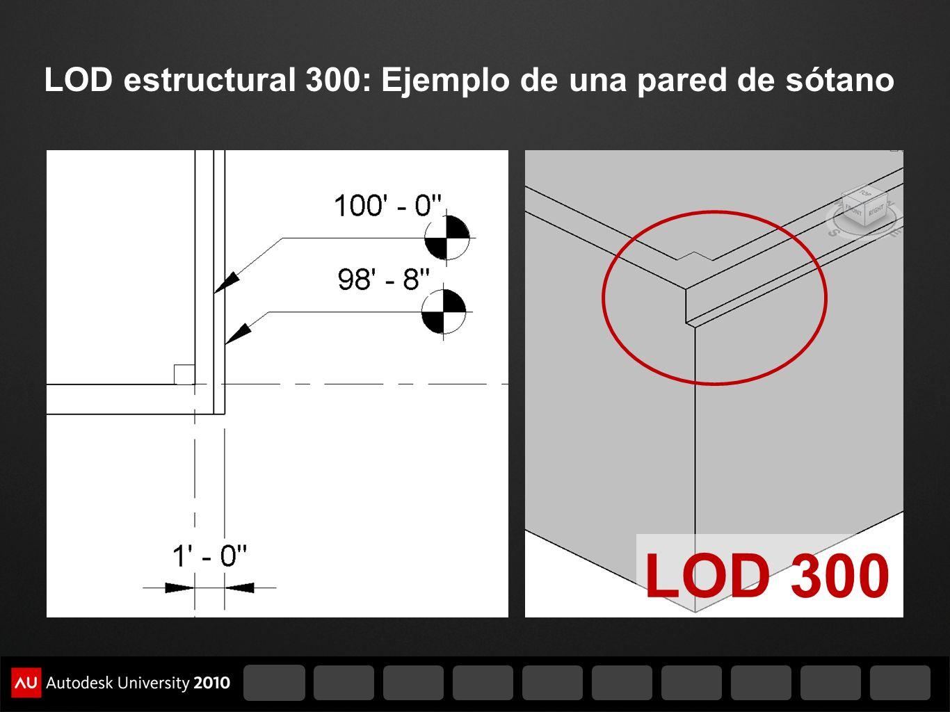 LOD estructural 300: Ejemplo de una pared de sótano