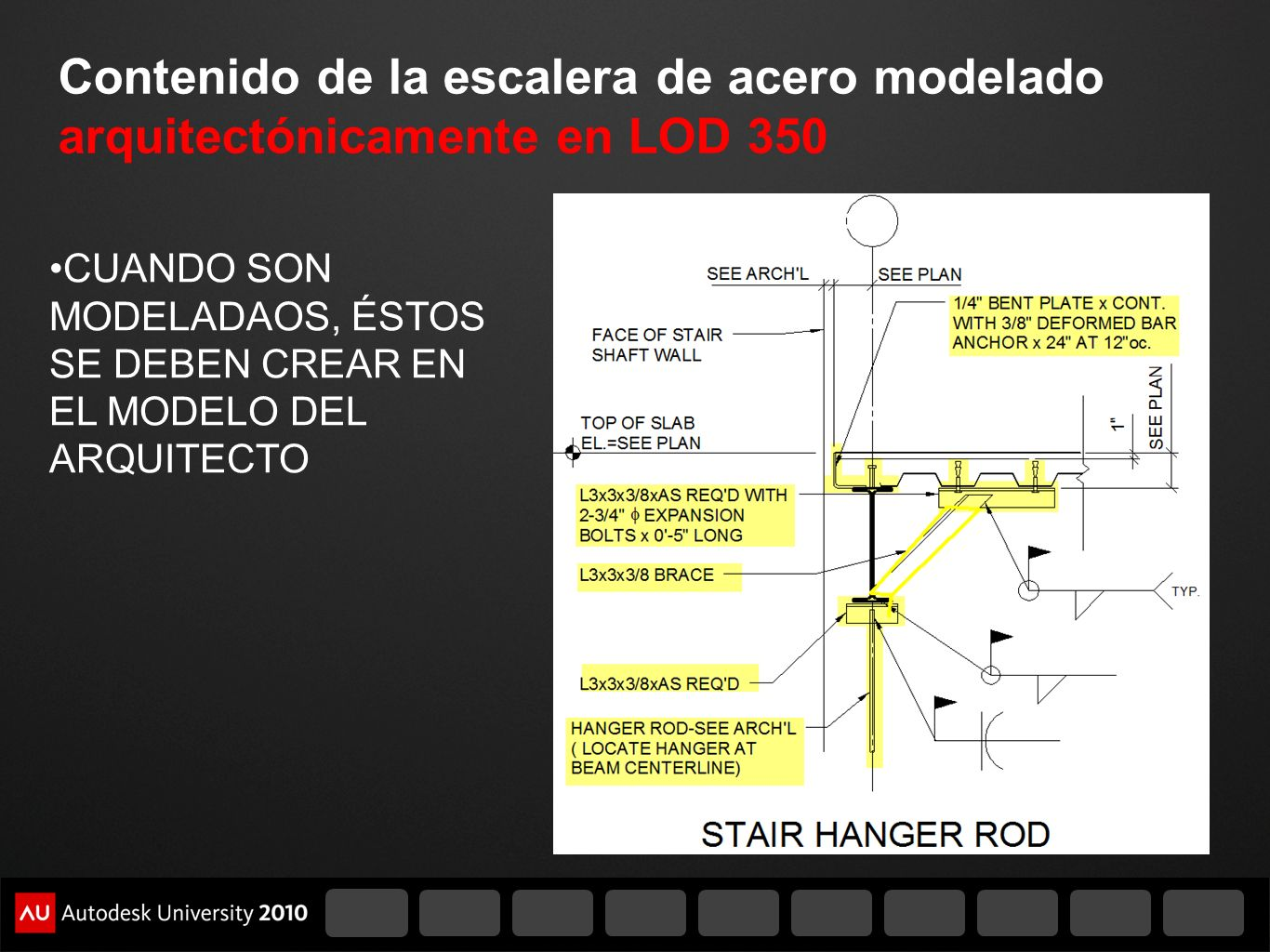 Contenido de la escalera de acero modelado arquitectónicamente en LOD 350