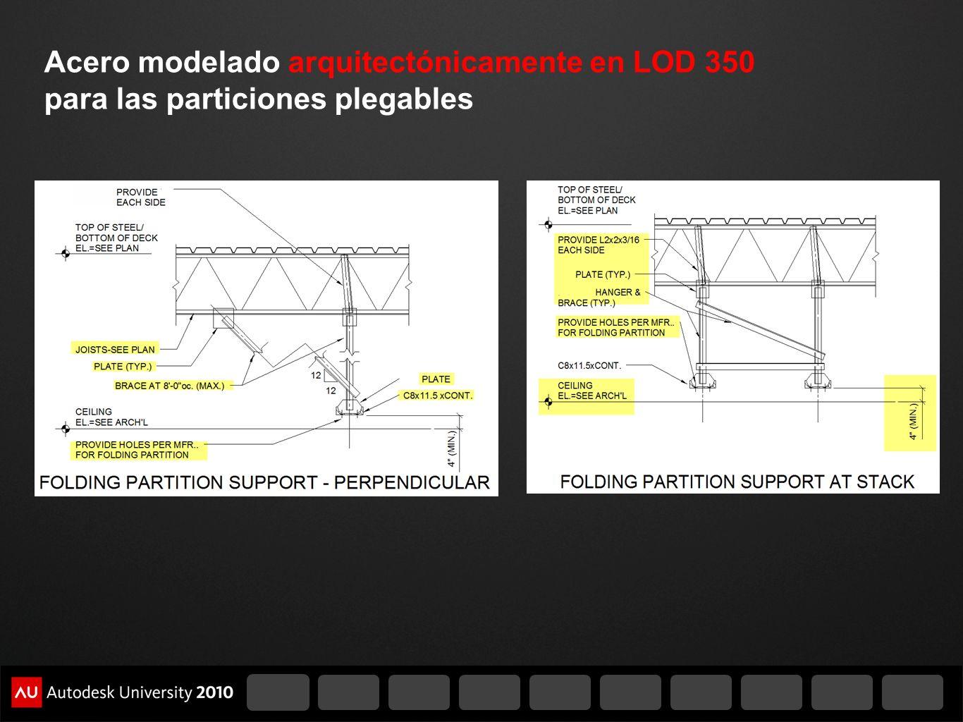 Acero modelado arquitectónicamente en LOD 350 para las particiones plegables