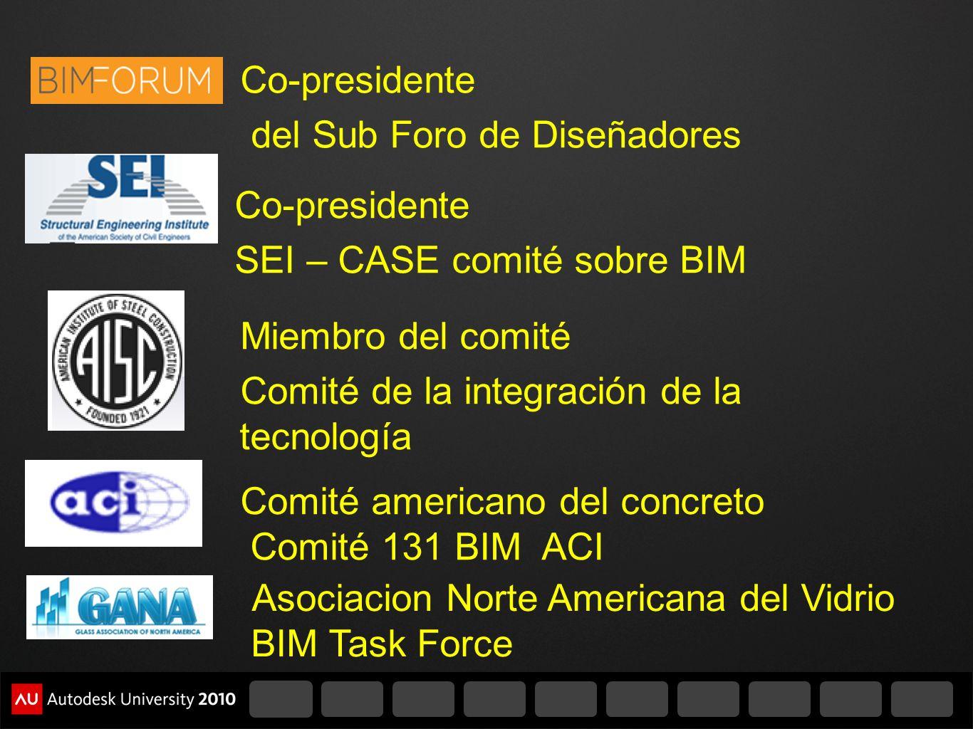 Co-presidente del Sub Foro de Diseñadores. Co-presidente. SEI – CASE comité sobre BIM. Miembro del comité.