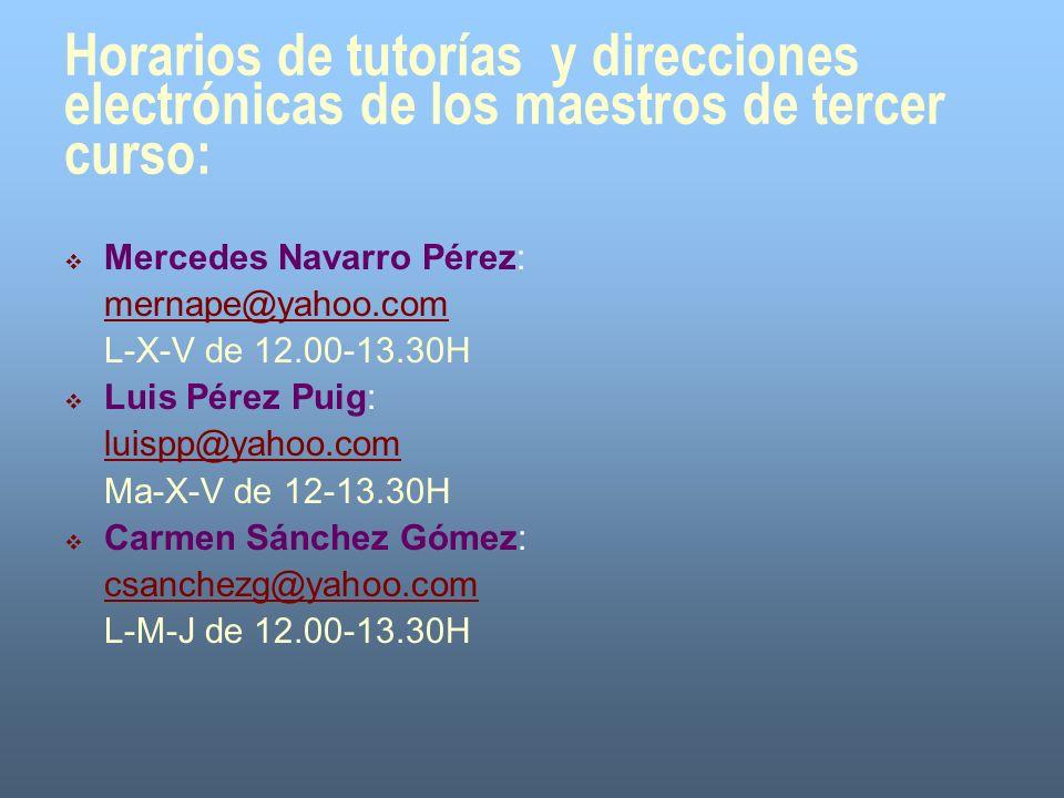 Horarios de tutorías y direcciones electrónicas de los maestros de tercer curso: