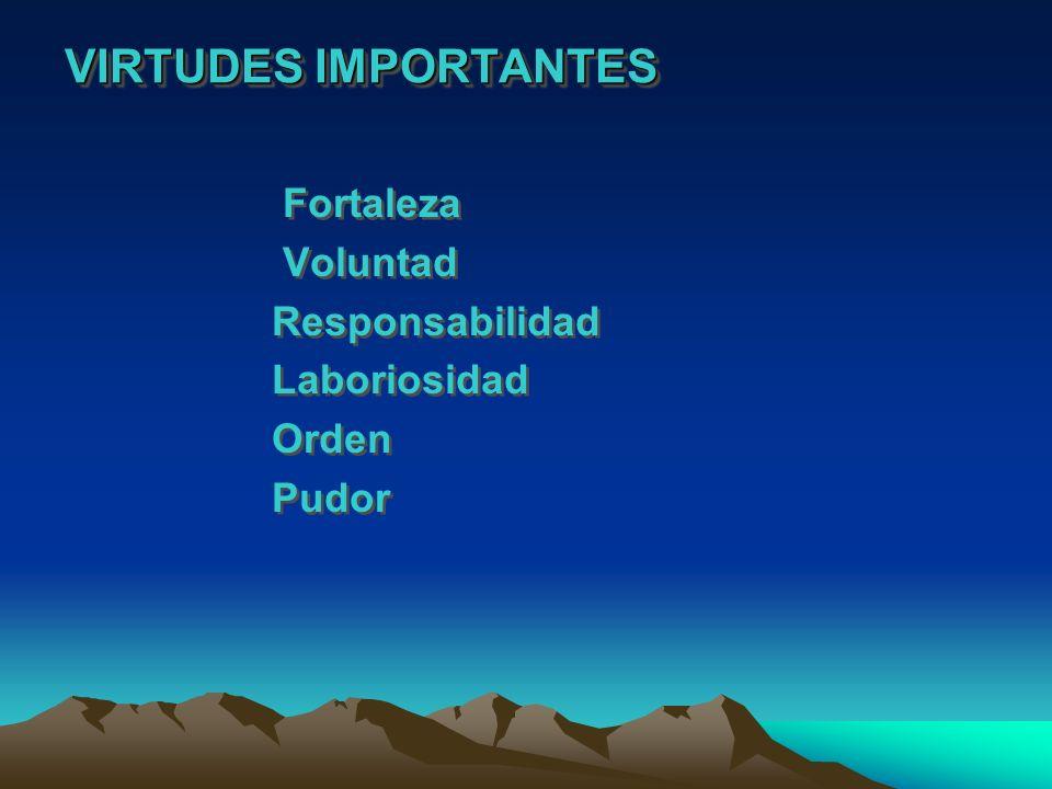 VIRTUDES IMPORTANTES Fortaleza Voluntad Responsabilidad Laboriosidad