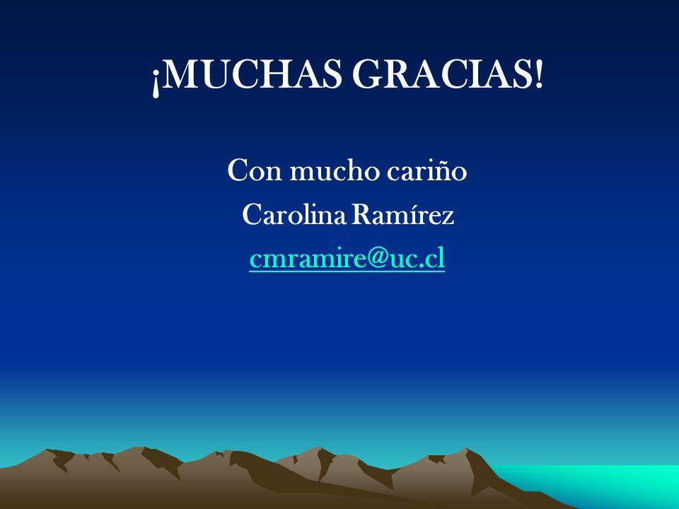 ¡MUCHAS GRACIAS! Con mucho cariño Carolina Ramírez cmramire@uc.cl